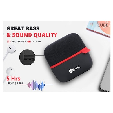 Zync Wireless Cube Portable Bluetooth Speaker Black Price in India